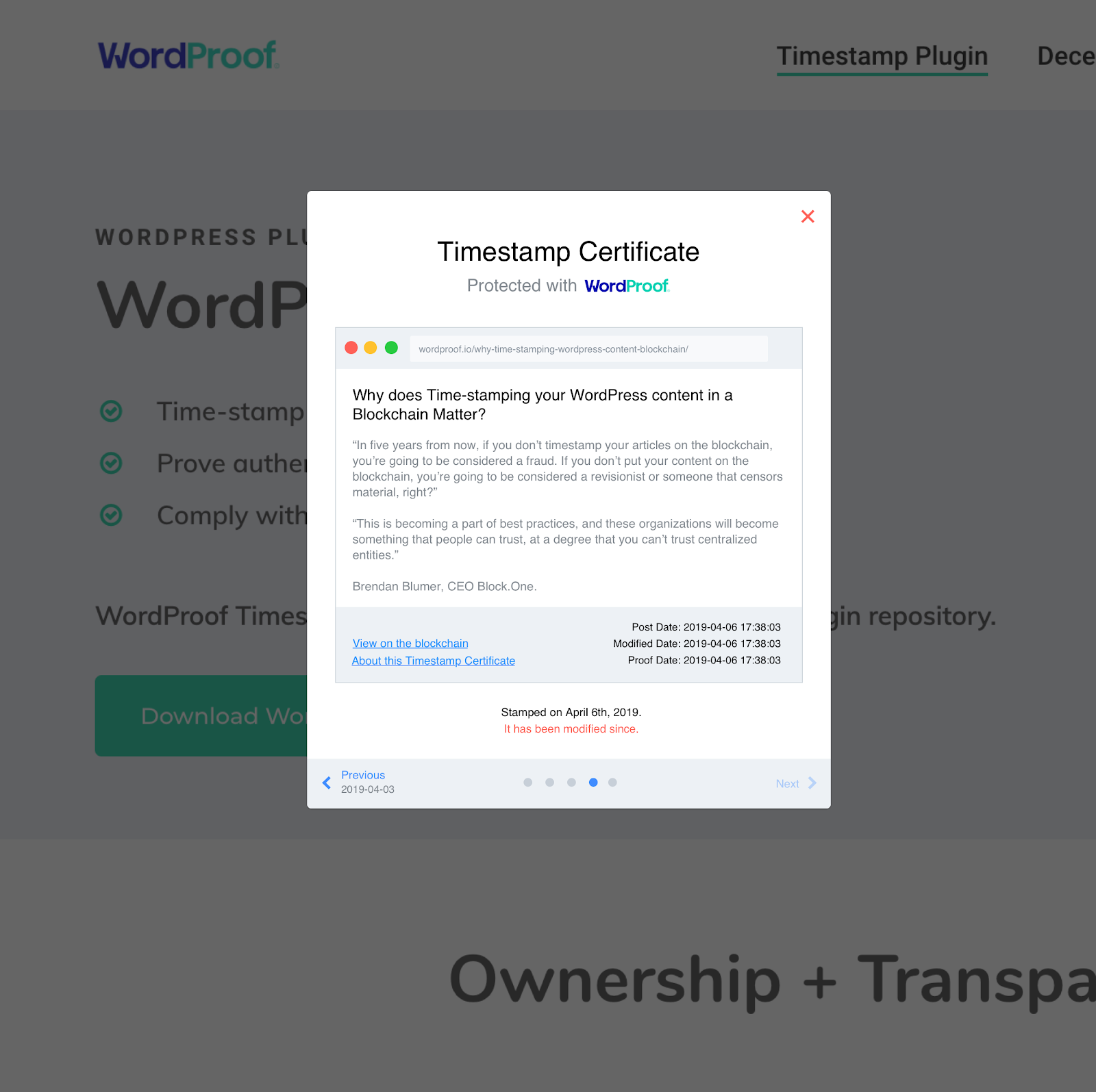 An Example WordProof Trusted Timestamping Certificate