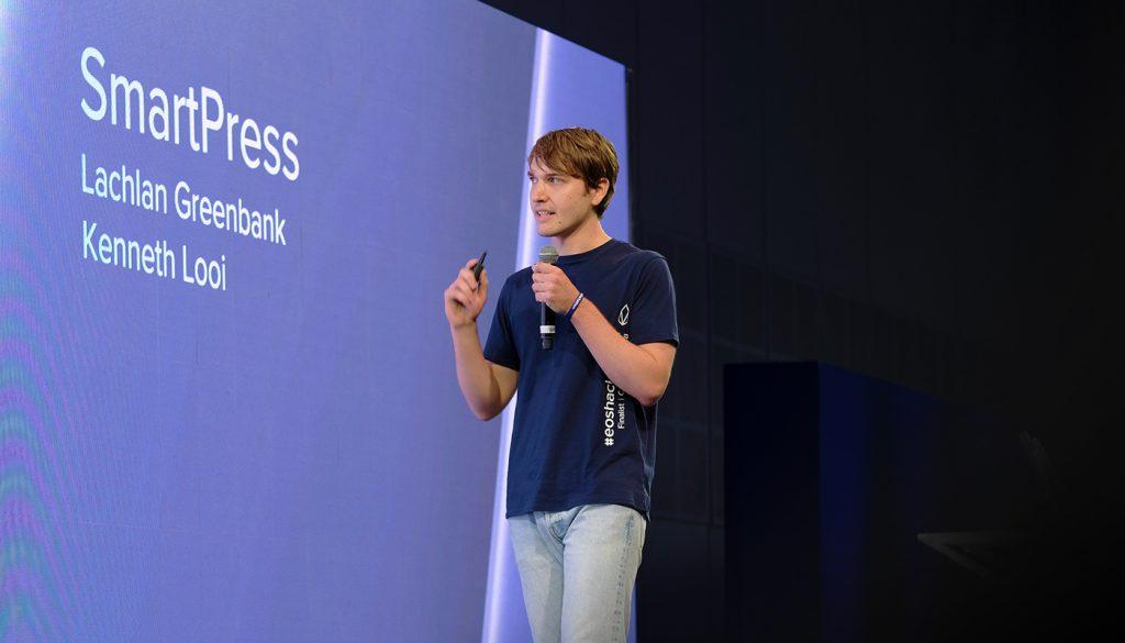 Smartpress founder Lachlan Greenbank pitching