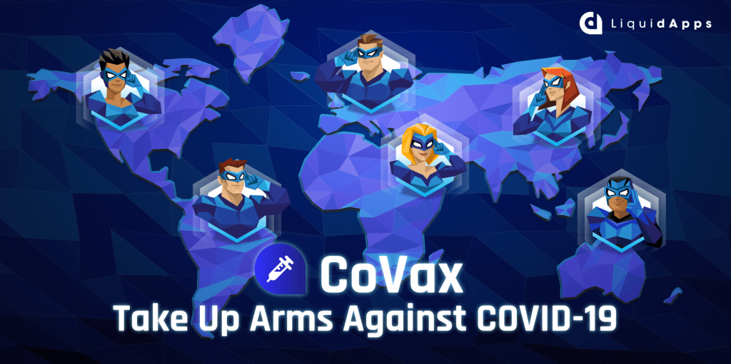 Stylistic graphic about the CoVax initiative