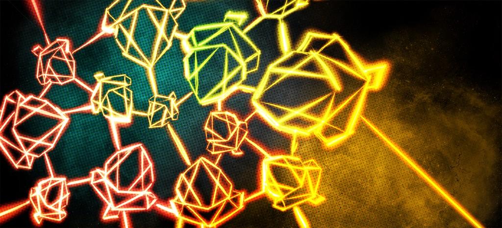 Stylistic image featuring several Telos acorn logos
